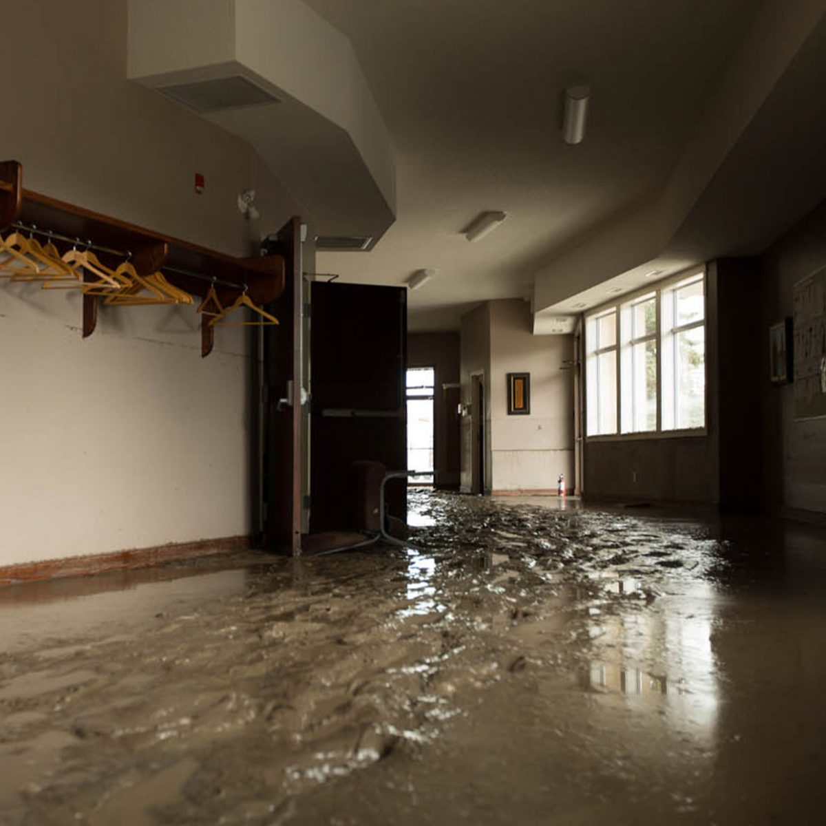 A workplace damaged by flooding.